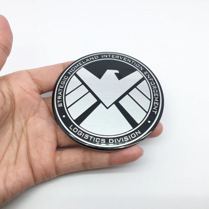 Металлическая наклейка логотип S.H.I.E.L.D.